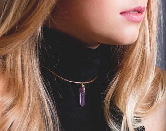 Ka'ohu necklace - crystal necklace, quartz necklace, rose aura necklace, raw stone necklace, gold boho necklace, crystal point, hawaii, maui