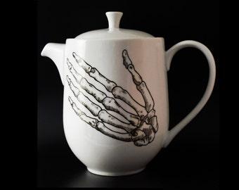 Anatomical Skeleton Hand -Hand Painted Tea Pot - Anatomical Decor