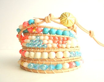 Coral Pink, Turquoise and Gold 5 Wrap Leather Bracelet/ salmon pink/ stack bracelet/ boho bracelet/ beach bracelet/ summer trends 2018