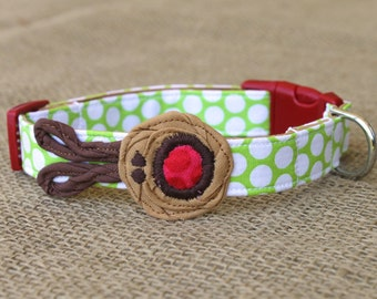 Reindeer Dog Collar - Lime Green Polka Dot with Brown Reindeer and Red Nose