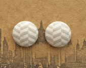 Chevron Earrings / Fabric Covered Button Earrings / Gray / Wholesale Jewelry / Gift Ideas for Girls / Small Studs