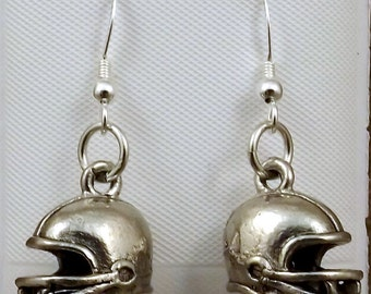 Pewter Football Helmet Charms on Sterling Silver Ear Wire Dangle Earrings - Free Shipping in the US - 0242