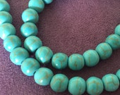 Turquoise Magnesite, Blue green with Matrix, Round, Smooth, 8mm, Small, Gemstone Beads, Full Strand,