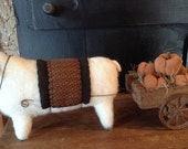 OOAK Primitive Handmade Wool Sheep with vintage pull cart full of pumpkins