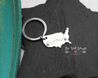 Long Distance Love Hand Stamped United States Keychain | Long Distance Relationships | Map Jewelry | US Keychain | US Jewelry |  LDR Jewelry