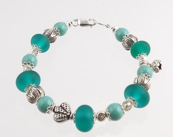 Sterling Silver and Turquoise Color Lampwork Bracelet, Lampwork Jewelry, Gift, Fashion Jewelry,  Wedding Jewelry, Glass Bead Bracelet