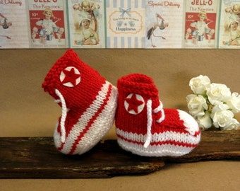 Christmas Knit Baby Booties Converse Hi Tops Red White Toddler Shoes Baby Shower Gift Photo Prop Boots Runners, Australia