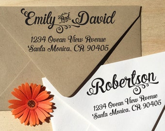 Calligraphy Address Stamp for weddings, return address stamping and customized gift for holidays, housewarming and weddings