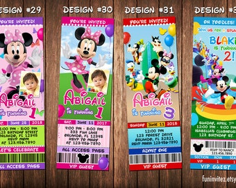 Mickey Mouse Clubhouse Minnie Beach Swim Birthday Party Photo Ticket Invitations Inflatable Pool - Printable