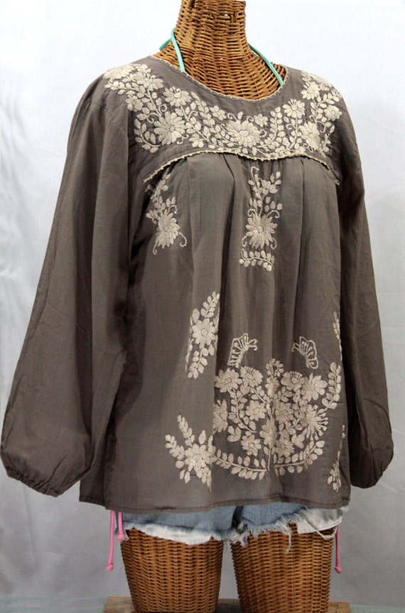 Mexican Peasant Blouse Long Sleeve Top Hand Embroidered: