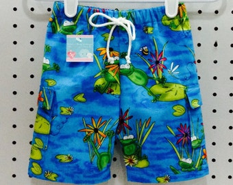 Baby Boy Frog & Lily Pad Swim Trunks/Swimsuit/Swim Shorts