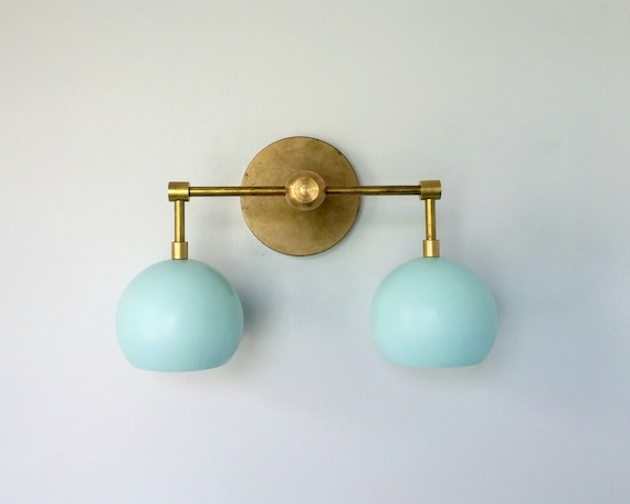 Large Bathroom Wall Sconces : Double Loa Sconce brass and mint wall sconce by SazeracStitches