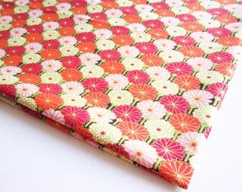 Pink Orange White Red Chrysanthemum flower Japanese Kimono, Golden fabric, Japan tradition,  festival, curtain, pillow, Cosmetic bag  KM053