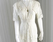 Remarkable Handmade 1900's Irish Lace Wedding Day Dress in Tea Length with Sailor Style Collar