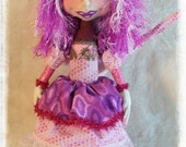 Cloth Doll, Cloth Art Doll, Art Doll, OOAK Doll, Fiber art Doll, Cat Cloth doll, Wonderland doll, Alice in Wonderland, Fabric Art Doll