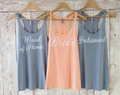 Bridesmaid Tank Top. Bridesmaid Tanks. Bridesmaid Shirts. Bride Tank Maid of Honor Tank Bride Shirt Bachelorette Party Shirts Eco White Font