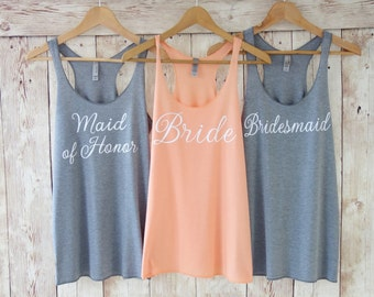 Bridesmaid Tank Top. Bridesmaid Tanks. Bridesmaid Shirts. Bride Tank Maid of Honor Tank Bride Shirt Bachelorette Party Shirts Eco White Font