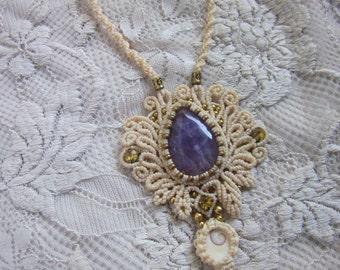 white amethyst wedding necklace, bohemian goddess jewelry