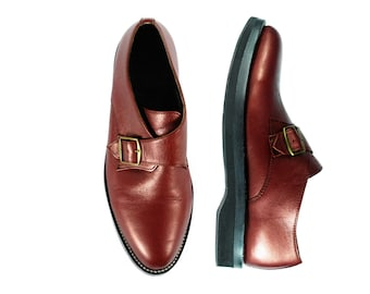 GINSBERG Metallic Red Leather Single Monk MICRO Cushioned Sole Shoes. (All sizes)