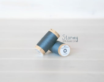 Organic Cotton Thread GOTS - 300 Yards Wooden Spool  - Thread Color Stormy Blue - No. 4819 - Eco Friendly Thread - 100% Organic Cotton