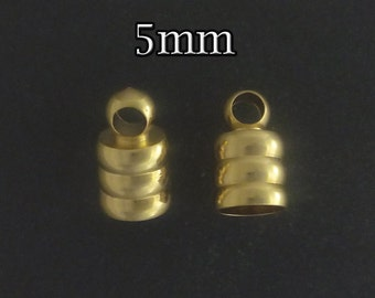 4pcs - Gold filled end caps 5mm - gold leather cord end caps - goldfill tube end caps - supplies jewelry making findings gold end caps