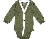Baby Cardigan - Green Baby Boy Cardi - Perfect for a Winter Baby Shower Gift