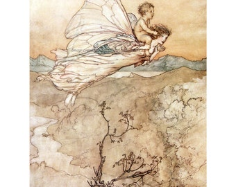 Fairy Fabric Block - Arthur Rackham - Peter Pan in Kensington Gardens