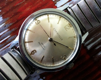 Vintage Men's Watch, BULOVA Caravelle N2 1972, Manual Wind Modernist, Stainless Steel, Delovelyness on Etsy, wind up watch, FREE SHIPPING