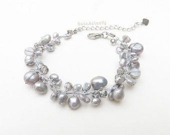 Silver gray freshwater pearl bracelet with crystal on silk thread