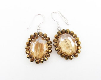 Brown crystal earrings with sterling silver ear wires, metallic brown, dangle earrings