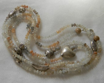 Moonstone beads necklace w Thai silver , beaded jewelry , long single/ double/ multi strand , colorful moonstone , unusual layering necklace
