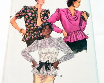 """1980s Cowl Neck Blouse with Peplum Top Shirt sewing pattern Vogue 9475 Size 6 8 10 Bust 30.5 31.5 32.5"""" UNCUT FF"""