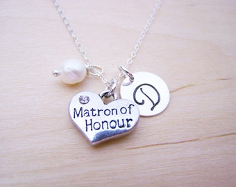 Matron of Honor Charm Necklace -  Swarovski Birthstone Initial Personalized Sterling Silver Necklace / Gift for Her - Bridesmaid Necklace