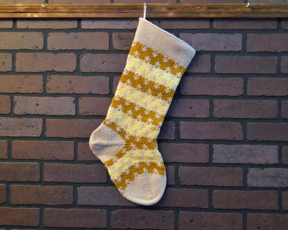 Knit Pattern For Striped Christmas Stocking : Striped Christmas Stocking Hand Knit in Yellow by CustomBearHugs