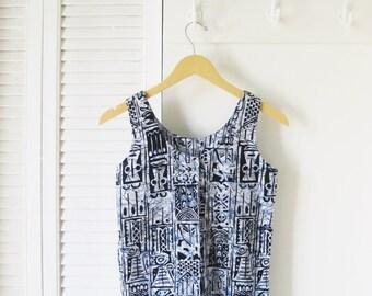 Indigo and white, batik, sleeveless button-up top. Size XS to S.