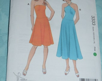 KWik Sew 3333 Misses Drsses Sewing Pattern - UNCUT - Sizes Xs S M L XL