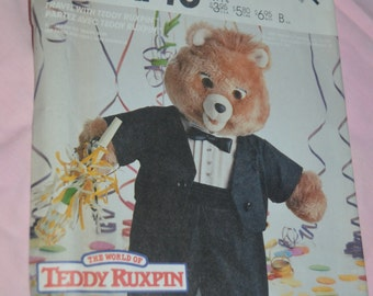 McCalls 2742 Teddy Ruxbin Tuxedo Outfit Clothes Package Sewing Pattern  - UNCUT