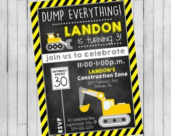Construction Birthday Invitation | Boy Construction Party | Construction Birthday | Digital Invitation