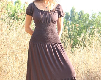 Long empire waist brown dress, Romantic boho summer dress, long gypsy dress, fairy flowing brown dress, Made to order, festival clothes