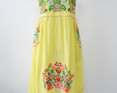 Mexican Embroidered Sundress Cotton Strapless Dress In Yellow, Beach Dress