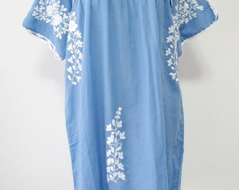 Mexican Embroidered Dress Cotton Tunic In Blue, Boho Dress, Oaxacan Dress, Peasant Dress, Gypsy Dress