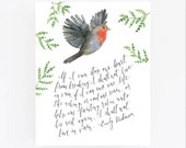 Emily Dickinson art, Poetry quotes, If I can stop one heart from breaking, One fainting Robin
