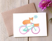 Corgi Love Valentine Card, Dog on Bike, Friendship, Thinking of You, Anniversary, Valentines Day, Greeting Card