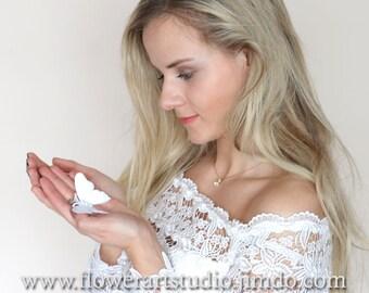 White Bridal Headpiece, Bridal Hair Accessories, Bridesmaid hair clip, White Butterfly hair clip, Flowergirl hair clip.