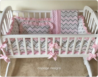 Pink and Gray Chevron Baby Cradle Bedding Set Of 4: Bumper Pad, Baby Blanket, Fitted Sheet and Accent Pillow / Custom Made-To-Order