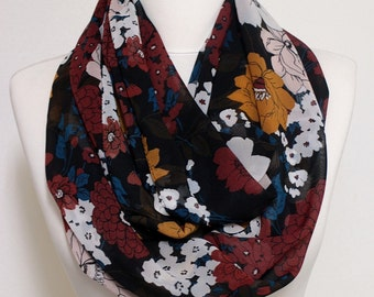 Flowers Pattern Infinity Scarf, Circle scarf, Loop Wide scarves, spring - fall - winter - summer fashion