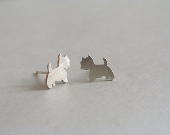 Westie Silver Post Earrings. stud earring