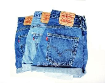 Levi High Waisted Denim Shorts CutOffs - Sizes 0-20 - xs s m l xl xxl