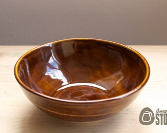 Bowl - Brown Stoneware Bowl - Chattered texture - Home Decor Dish
