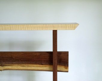 Custom Wood Table: Narrow Console Table, Modern Hall Table/ Entryway Table, Live Edge Side Table- Minimalist Modern Wood Furniture